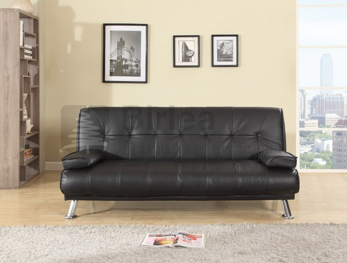 Logan Faux Leather Sofabed Black Sofa Beds Futons At Elephant