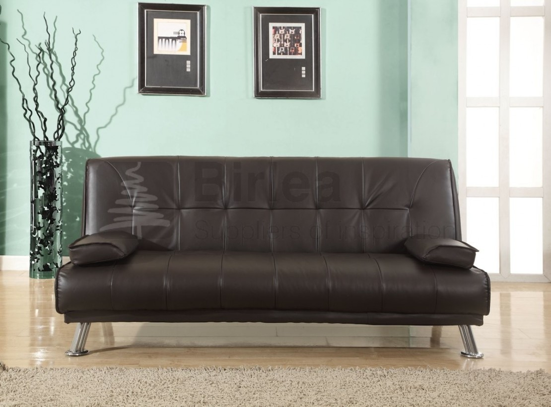 logan faux leather sofabed brown | sofa beds & futons at elephant