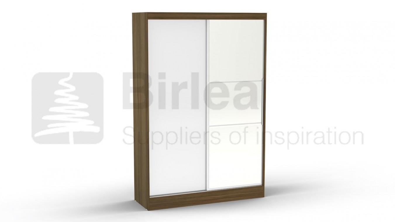 Lynx 2 Door Sliding Wardrobe With Mirror Walnut And White